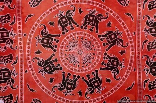 Indian Elephant Mandala Wall Hanging Tapestry Boho Twin Cotton Bedspread Decor