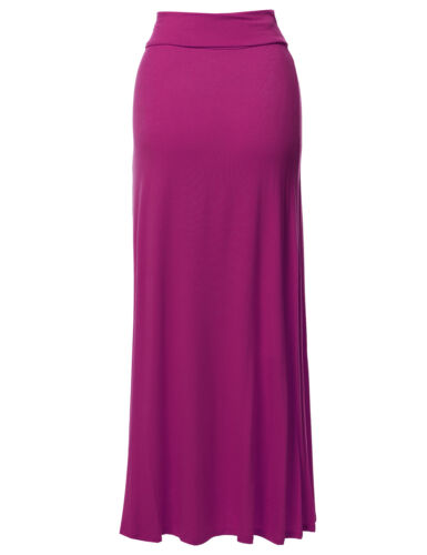 Made In USA FashionOutfit Women/'s Stylish Fold Over Flare Long Maxi Skirt