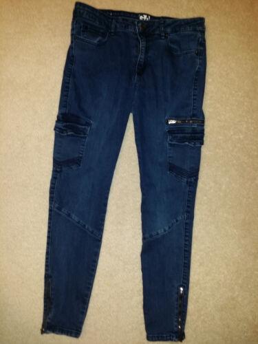 blu Juni Jeans da 28 vita 9 alta zip con sz stretch Jegging cargo 32 a garage wqPIWaq