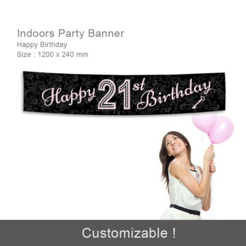 21st Girls Birthday Decorations  Happy CANVAS Party Banner Personalise Damask