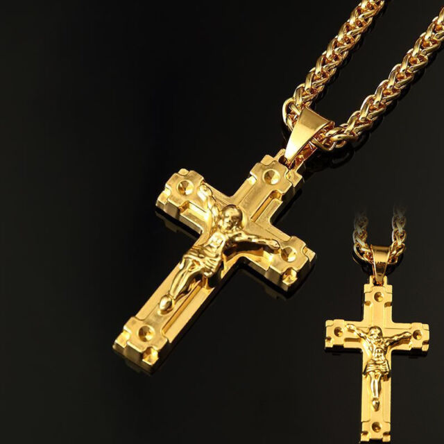 18k gold plated pendant cool jesus christ cross necklace hip hop 18k gold plated pendant cool jesus christ cross necklace hip hop chain necklace aloadofball Gallery