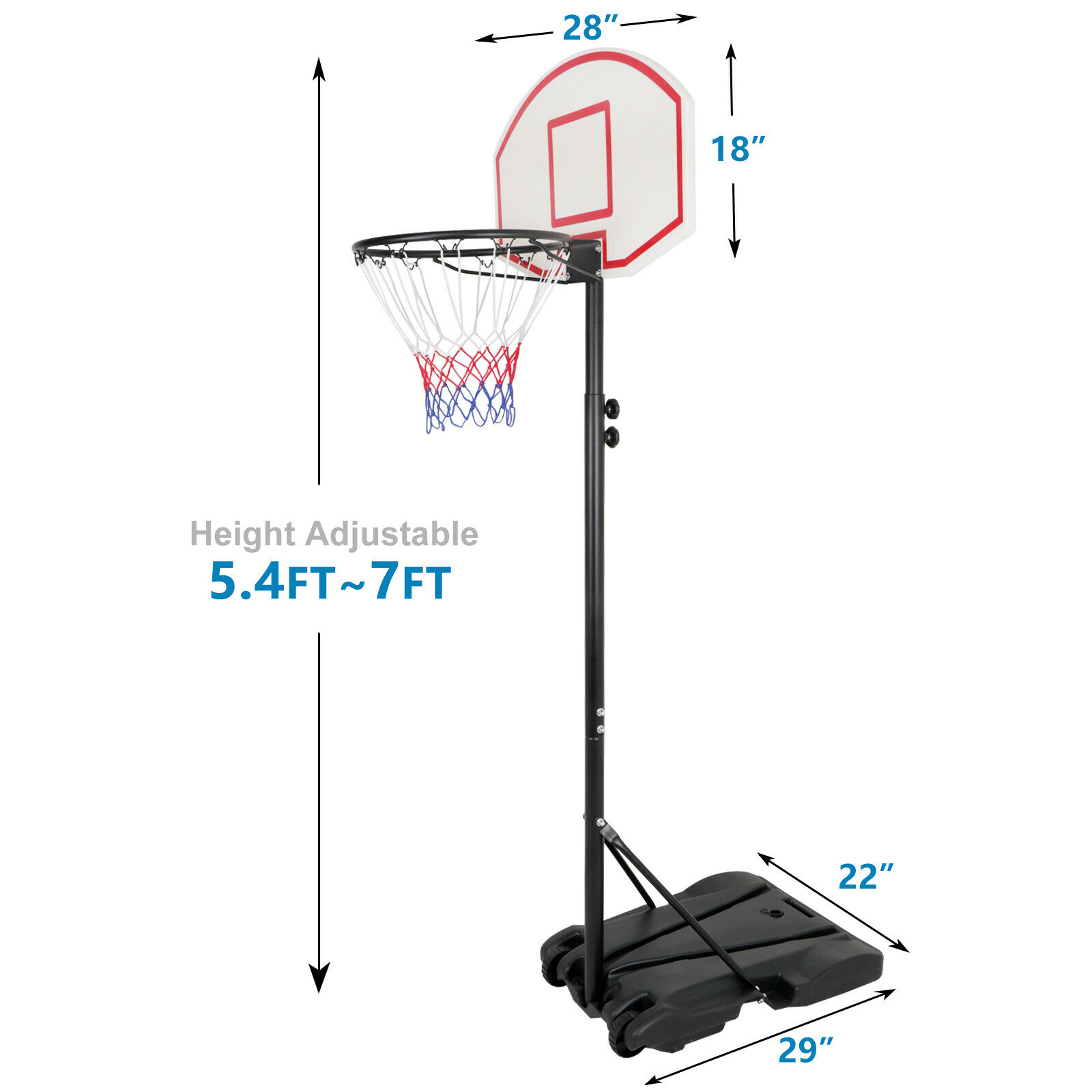 Mecotech Basketball Portable Board Stand Adjustable 4-Section Height 63-150cm with Inflator Indoor Outdoor Basketball Backboard Hoop for Children