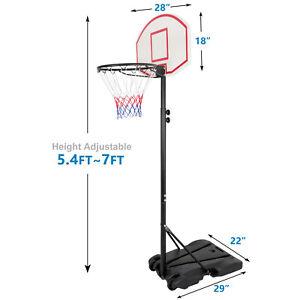 Portable Adjustable Basketball System Hoop Backboard Yard Outdoor Kids Sports