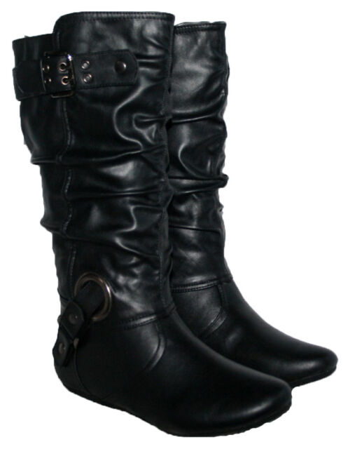 a9266cc4323 LADIES BLACK CALF LENGTH FLAT BOOT WITH BUCKLE STRAPS AND SIDE ZIP IN SIZES  3-8