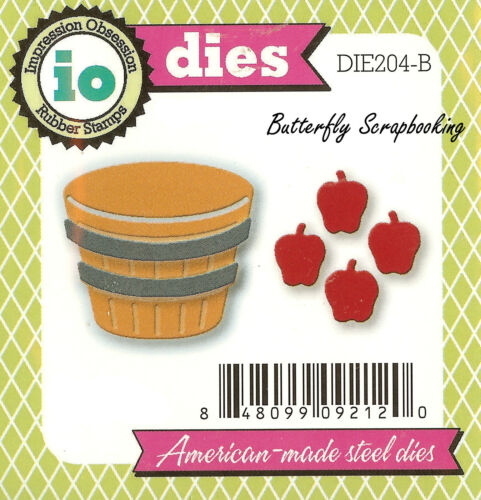 Fall Apple Basket Die Cutting Dies by Impression Obsession DIE204-B New