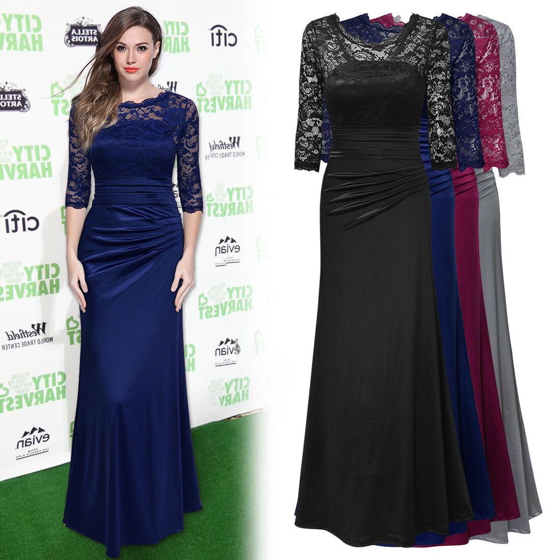 Gowns For Women: Womens Long Prom Lace Formal Evening Cocktail Party