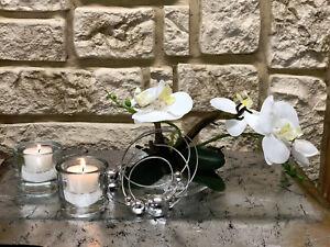 Tischgesteck Tischdeko Nr 21 Glasteller Mit Weisser Orchidee Elegant