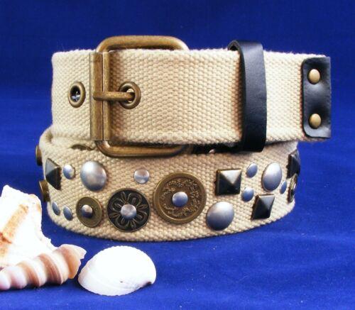 Designer Nietengürtel  Stoffgürtel Trachtengürtel creme beige Damengürtel S4D