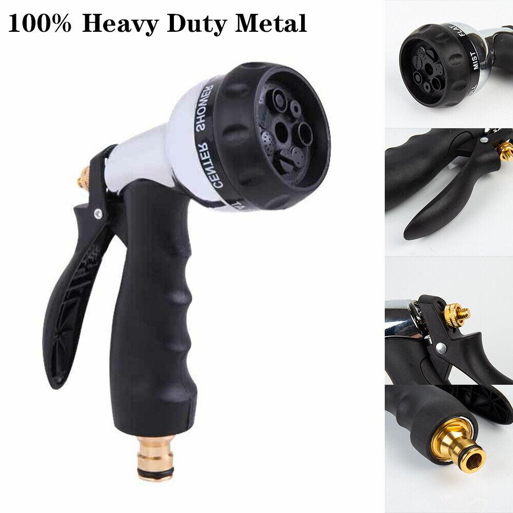 7 Dial Function Metal Garden Hose Sprayer Gun Hose Pipe Chrome Water Spray UK