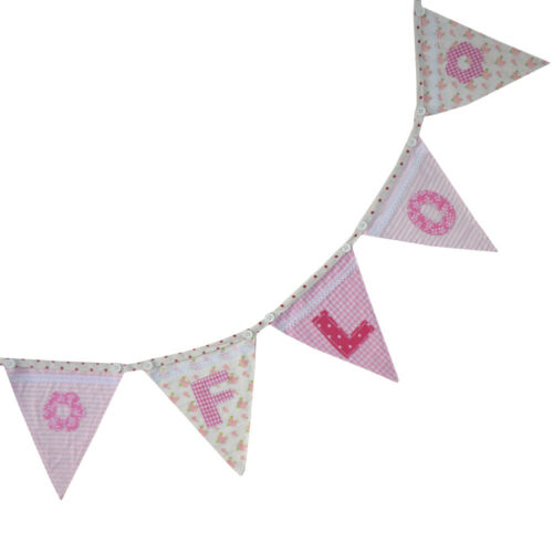 Personalised Nursery Bunting Pink Alphabet Bunting and Motifs