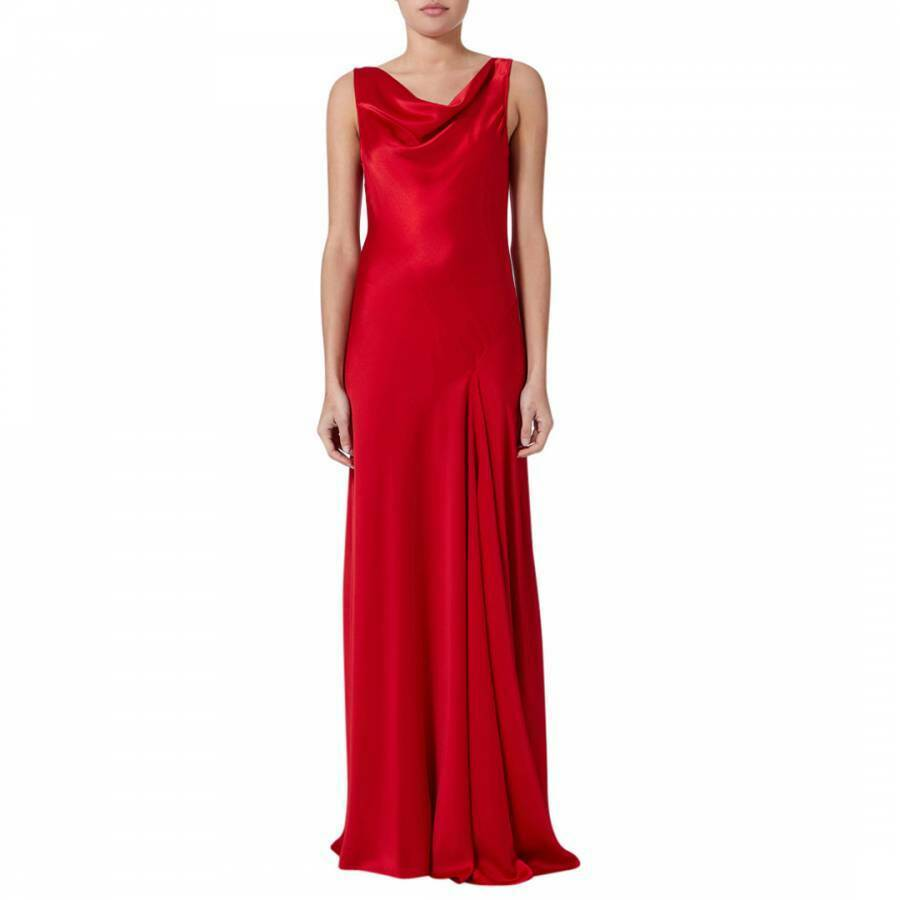 AMANDA WAKELEY rot Bias Cowl Neck Gown Party Occasion Maxi Dress UK 12 40