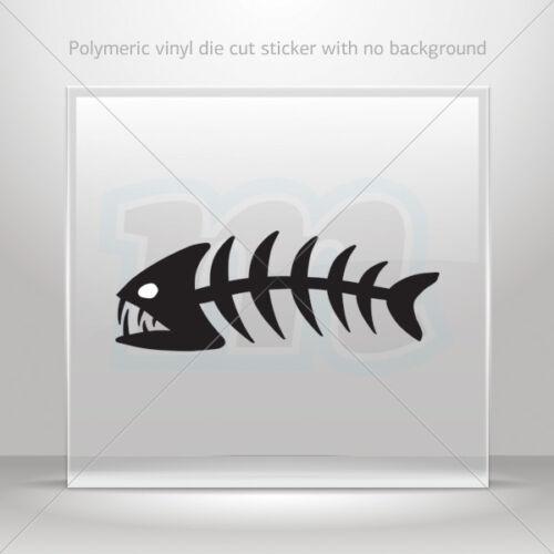 Decal Sticker Fishbone Helmet Atv Bike polymeric vinyl Garage st5 ZK463