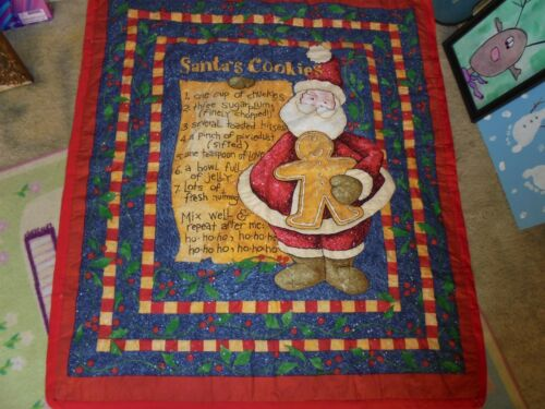 Wall Hanging blanket Santa's cookies christmas holiday gingerbread Santa Claus