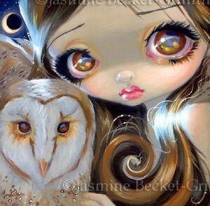 Fairy-Face-176-Jasmine-Becket-Griffith-Big-Eye-Owl-Moon-Fairy-SIGNED-6x6-PRINT