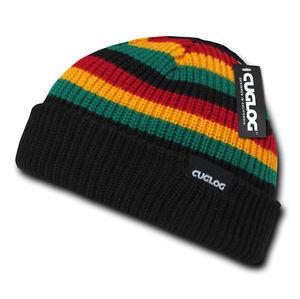 Black Rasta Jamaican Warm Woven Winter Sweater Ski Pom Pom Knit Beanie Cap Hat