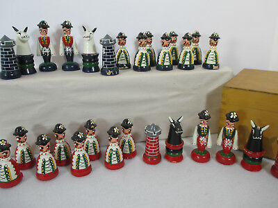 Chess Pieces Wooden Hand Painted Box Horse Castle Pawn Incomplete 28pcs Crafters