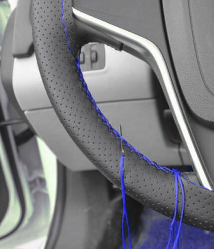 Universal Steering Wheel Cover Case Black Leather Blue Thread for Cars DIY P65s