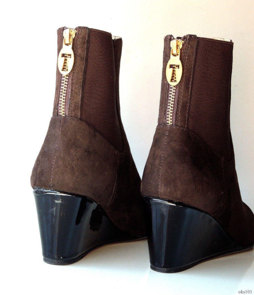 Nuevo Taryn oro rosado ante marrón oscuro oro Taryn Cremallera Cuña botas Hasta el Tobillo Zapatos 6-Hermosa 0f0609