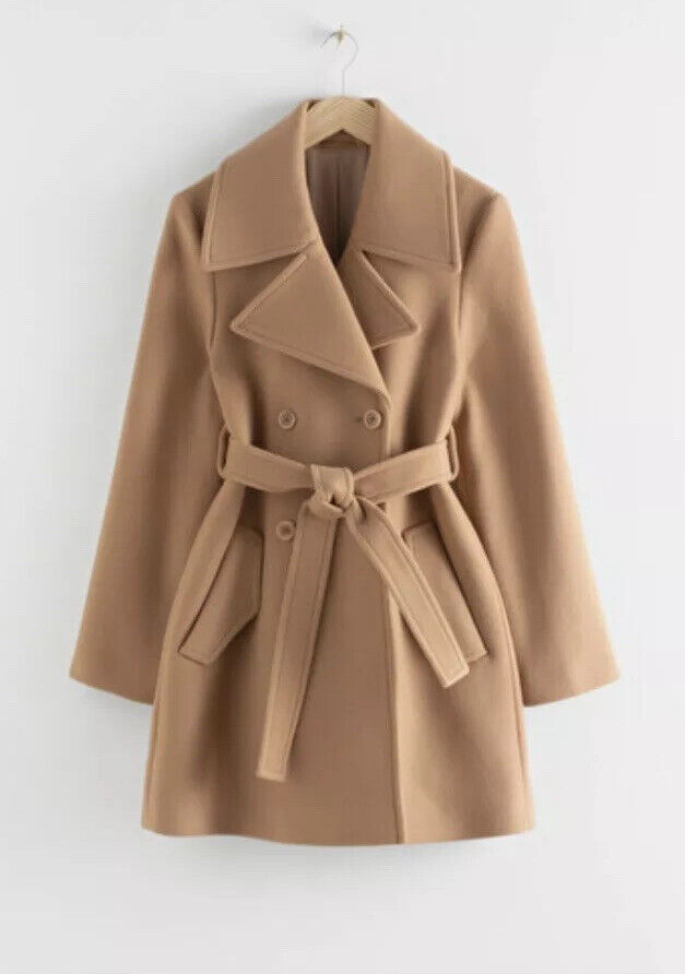 & Other Stories Double Breasted Belted Coat Beige Taille 40 Uk 12/14