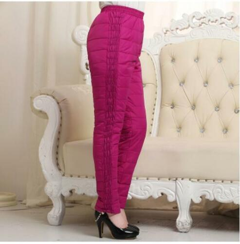 Womens Thicken Down Cotton Warm Casual Pants High Waist Comfy Padded Trousers