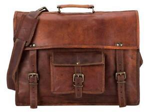 Men/'s Leather Messenger Shoulder Bags Business Work Briefcase Laptop Bag Vintage