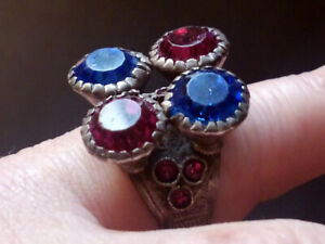 Tribal Design Ring with glass jewels (Afghanistan)