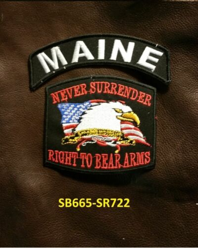 MAINE and NEVER SURRENDER Small Patches Set for Biker Vest Jacket
