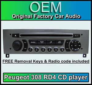 Details about Peugeot 308 car stereo CD player Peugeot RD4 radio + FREE Vin  Code and keys