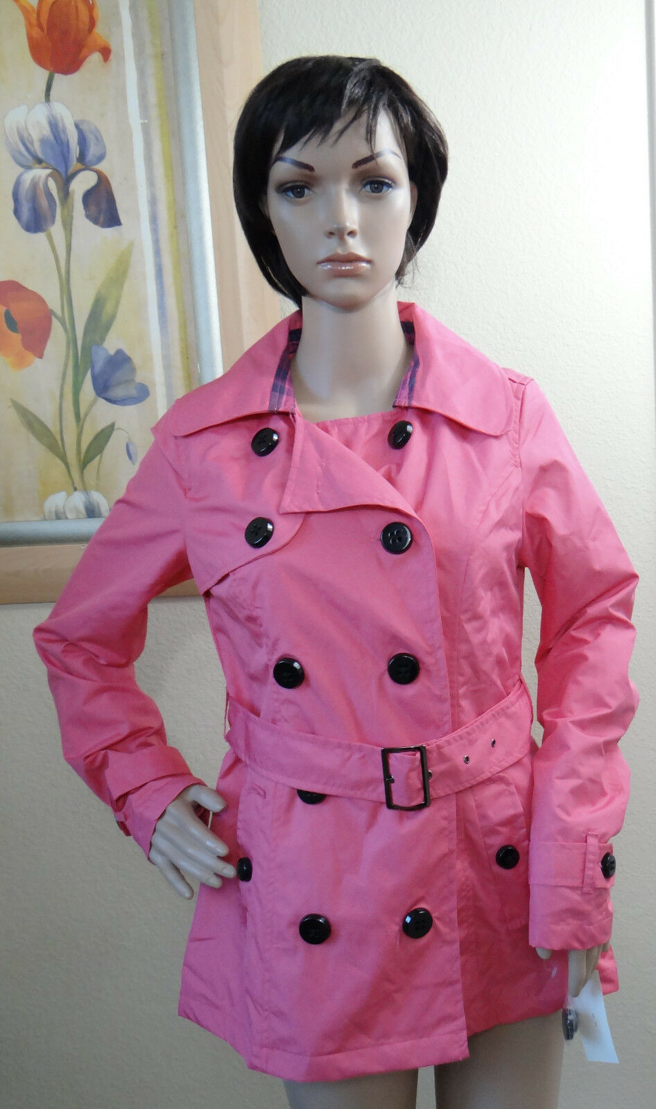 NWT PINK ENVELOPE hot pink double breasted button front belt light trench coat,M