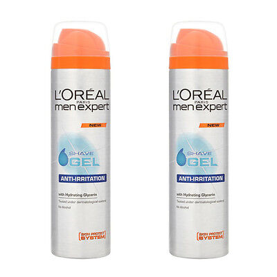 2 x L'Oreal Men Expert Anti-Irritation Shave Gel 200ml Reduces Razor Burn