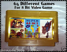 64in1 64 IN 1 8 Bit TV Video Game Cartridge / Cassette 64 different Games in One