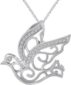 OPEN DOVE NECKLACE PENDANT W// LAB DIAMONDS //925 STERLING SILVER 27MM BY 25MM