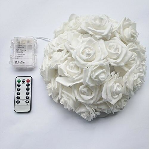 Echosari Updated Version Battery Operated 15 Ft 30 LED White Rose Flower With