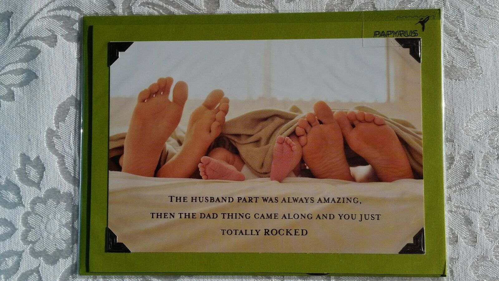 $5.95 Retail NIP Papyrus Fathers Day Card Bare Feet in Bed Dad Father/'s
