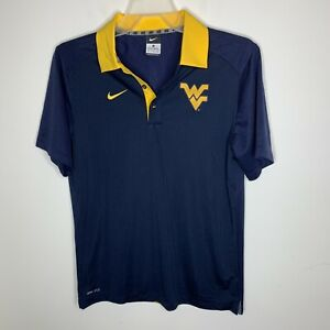Nike-Womens-XL-Blue-Yellow-WV-West-Virginia-Short-Sleeve-Polo-Shirt