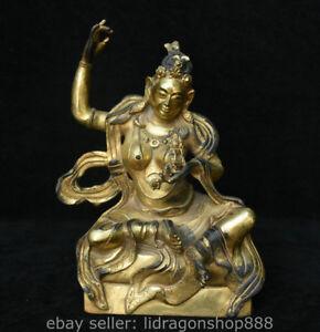 """9,6 """"Statue de Bouddha en bronze doré du temple du bouddhisme ancien du Tibet"""
