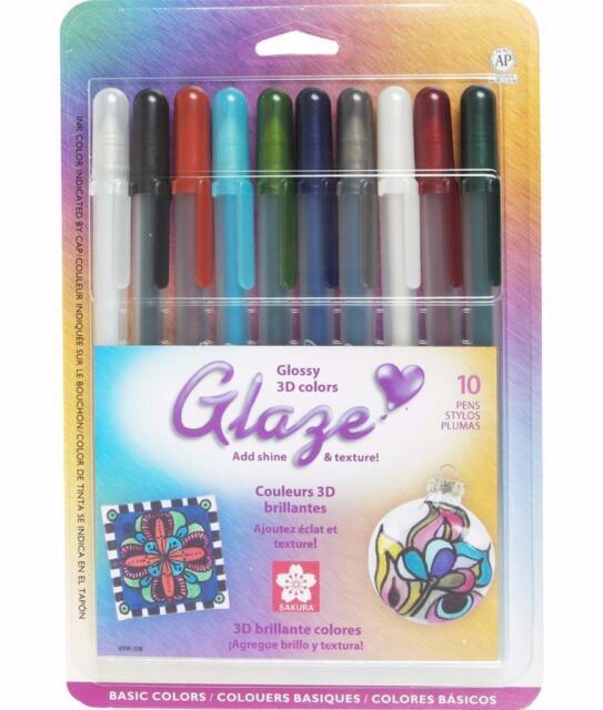 Sakura Gelly Roll Glaze Glossy 3D Gel Ink Pens - Basic Colors - 10/PK - 38369