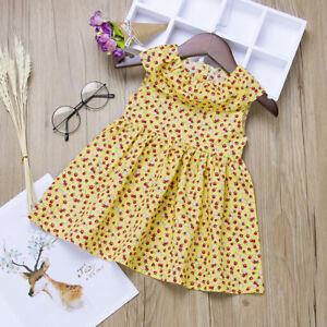 30c1209b3da81 Details about Summer Infant Baby Girls Sleeveless Cotton Floral Print Dress  Clothes Dresses