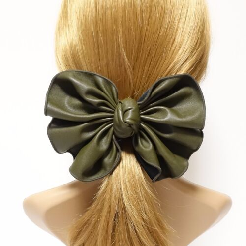 Leather Pleat Bow Knot French Hair Barrette