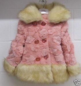5edbfc063 Girls Toddler Baby Coat jacket Tutu faux fur pink white infants ...