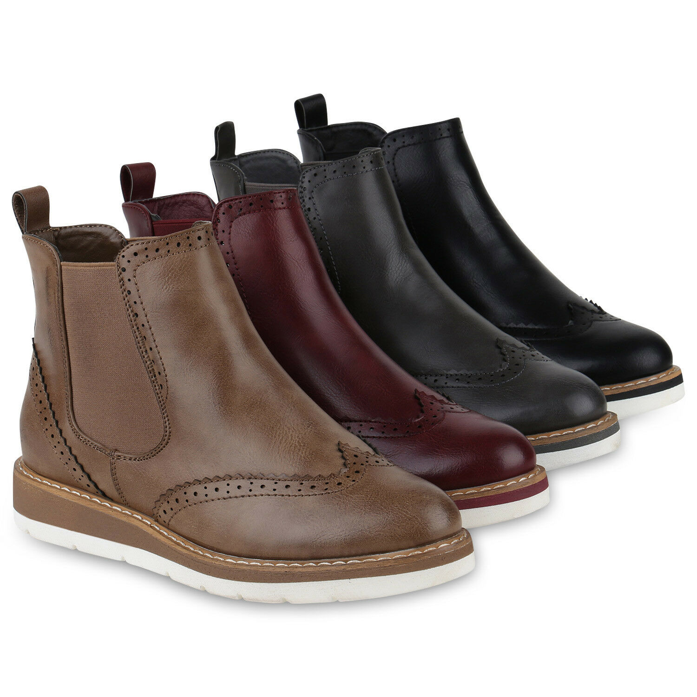 Damen Chelsea Boots Leicht Gefütterte Stiefeletten Wedges 818887 Schuhe