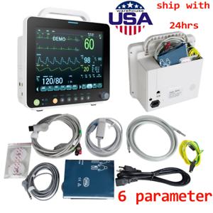 "Portable 12"" Patient Monitor Vital Signs SpO2,PR,NIBP,ECG,RESP,TEMP LCD Display"