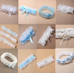 Strumpfband-Hochzeit-weiss-hellblau-Satin-Spitze-Braut-viele-Modelle