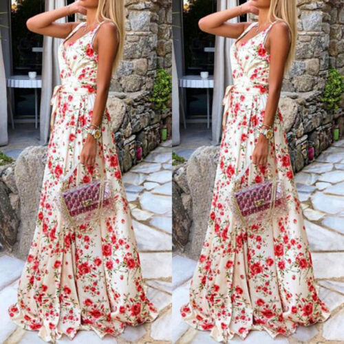 Geblumte Damenkleider Damen Blumen Lang Kleider Maxikleid Partykleid Sommer Strandkleid Festlich Kleid Com