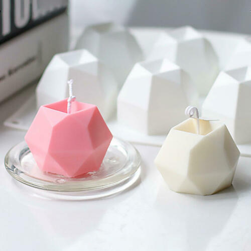 3D DIY Silicone Cube Heart Candle Molds Soap Mold Craft Wax Resin Mould Hobby