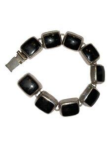 Vintage-925-Mexico-Sterling-Silver-Black-Onyx-Stone-Box-Clasp-Bracelet-47-Grams