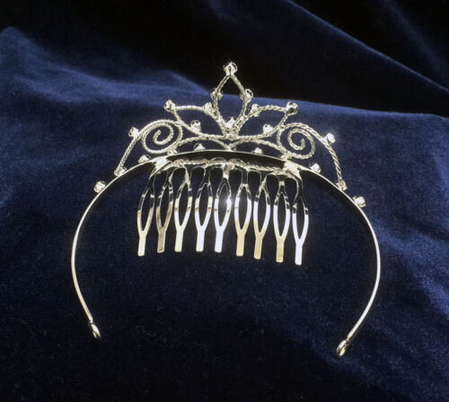 """Crystal Clear Rhinestones Mini Tiara w//Gold Plated.1.5/"""" Height.Pick Your Color !"""