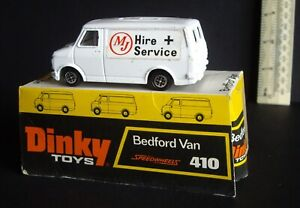 """1970s Dinky Promotional Bedford Van #410 """"MJ Hire+Service"""" Bubble Boxed Unused"""