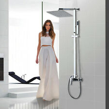 US Stock Bathroom Chrome Wall Mounted Shower Head Set Faucet W/ Valve Tap Mixer