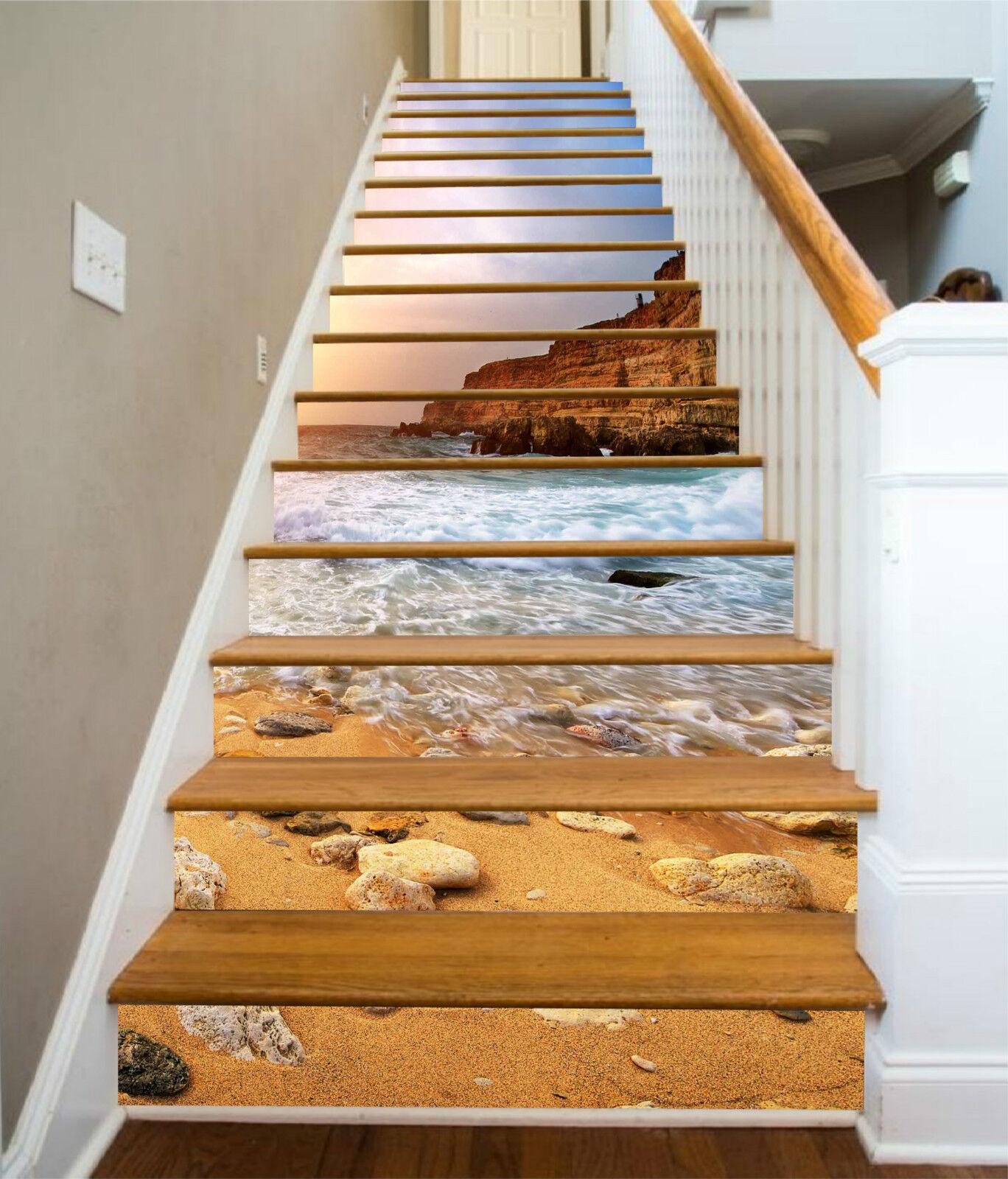 3d rocheux plage Stair Risers Décoration Papier Peint Vinyle Autocollant Papier Peint De